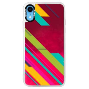Neonové pouzdro Pink iSaprio Color Stripes 03 na mobil Apple iPhone XR