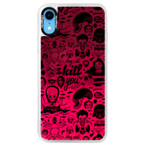 Neonové pouzdro Pink iSaprio Comics 01 black na mobil Apple iPhone XR