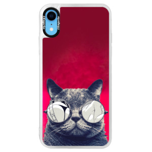 Neonové pouzdro Pink iSaprio Crazy Cat 01 na mobil Apple iPhone XR