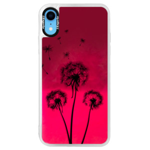 Neonové pouzdro Pink iSaprio Three Dandelions black na mobil Apple iPhone XR