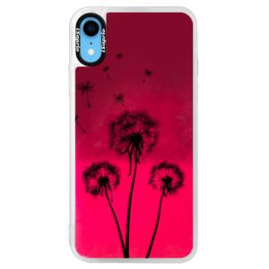 Neonové pouzdro Pink iSaprio Three Dandelions black na mobil Apple iPhone XR