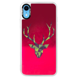 Neonové pouzdro Pink iSaprio Deer Green na mobil Apple iPhone XR