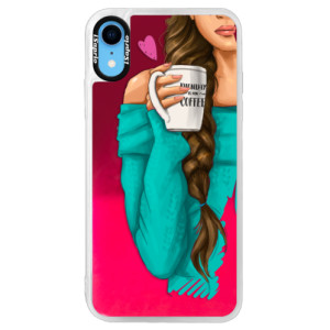 Neonové pouzdro Pink iSaprio My Coffe and Brunette Girl na mobil Apple iPhone XR
