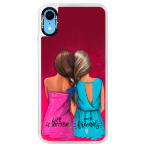 Neonové pouzdro Pink iSaprio Best Friends na mobil Apple iPhone XR