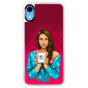 Neonové pouzdro Pink iSaprio Coffe Now Brunette na mobil Apple iPhone XR