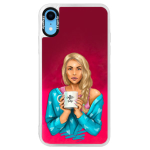 Neonové pouzdro Pink iSaprio Coffe Now Blond na mobil Apple iPhone XR