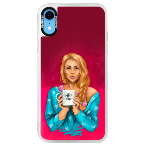 Neonové pouzdro Pink iSaprio Coffe Now Redhead na mobil Apple iPhone XR