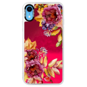 Neonové pouzdro Pink iSaprio Fall Flowers na mobil Apple iPhone XR