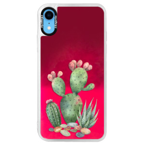 Neonové pouzdro Pink iSaprio Cacti 01 na mobil Apple iPhone XR