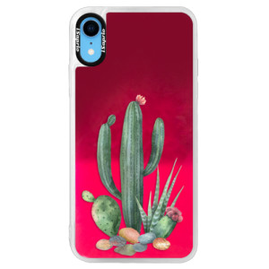 Neonové pouzdro Pink iSaprio Cacti 02 na mobil Apple iPhone XR