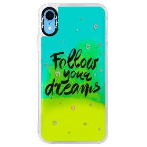 Neonové pouzdro Blue iSaprio Follow Your Dreams black na mobil Apple iPhone XR