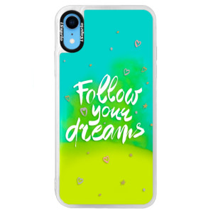 Neonové pouzdro Blue iSaprio Follow Your Dreams white na mobil Apple iPhone XR