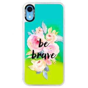 Neonové pouzdro Blue iSaprio Be Brave na mobil Apple iPhone XR