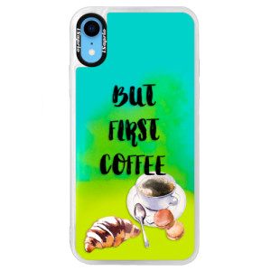 Neonové pouzdro Blue iSaprio First Coffee na mobil Apple iPhone XR
