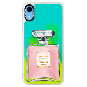 Neonové pouzdro Blue iSaprio Chanel Rose na mobil Apple iPhone XR
