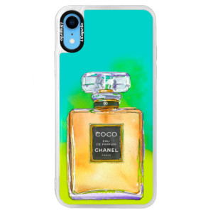Neonové pouzdro Blue iSaprio Chanel Gold na mobil Apple iPhone XR
