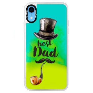 Neonové pouzdro Blue iSaprio Best Dad na mobil Apple iPhone XR