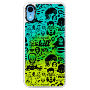 Neonové pouzdro Blue iSaprio Comics 01 black na mobil Apple iPhone XR
