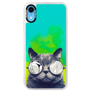 Neonové pouzdro Blue iSaprio Crazy Cat 01 na mobil Apple iPhone XR