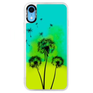 Neonové pouzdro Blue iSaprio Three Dandelions black na mobil Apple iPhone XR