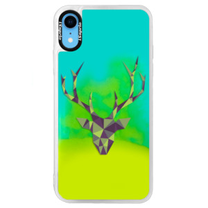 Neonové pouzdro Blue iSaprio Deer Green na mobil Apple iPhone XR