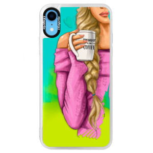 Neonové pouzdro Blue iSaprio My Coffe and Blond Girl na mobil Apple iPhone XR