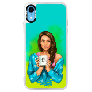 Neonové pouzdro Blue iSaprio Coffe Now Brunette na mobil Apple iPhone XR