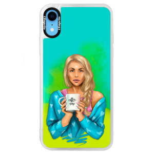 Neonové pouzdro Blue iSaprio Coffe Now Blond na mobil Apple iPhone XR