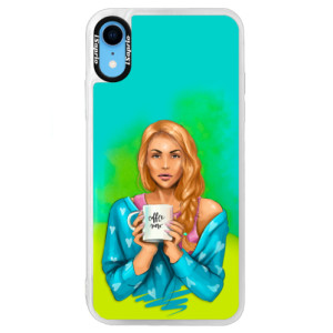 Neonové pouzdro Blue iSaprio Coffe Now Redhead na mobil Apple iPhone XR
