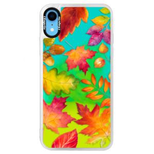 Neonové pouzdro Blue iSaprio Autumn Leaves 01 na mobil iPhone XR