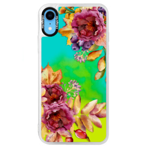 Neonové pouzdro Blue iSaprio Fall Flowers na mobil Apple iPhone XR