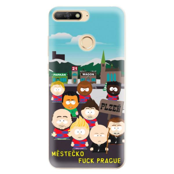 Silikonový kryt iSaprio - Městečko Fuck Prague pro mobil Huawei Y6 Prime (2018)