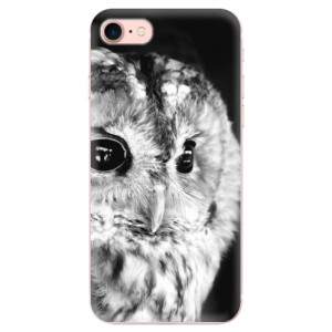Silikonové odolné pouzdro iSaprio BW Owl na mobil Apple iPhone 7