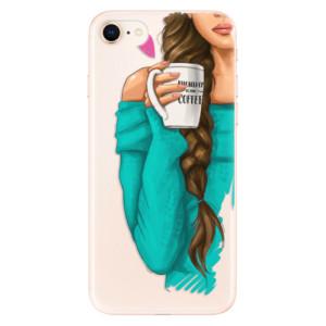 Silikonové odolné pouzdro iSaprio My Coffee and Brunette Girl na mobil Apple iPhone 8