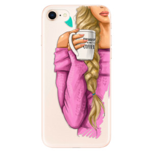 Silikonové odolné pouzdro iSaprio My Coffee and Blond Girl na mobil Apple iPhone 8