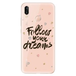 Silikonové odolné pouzdro iSaprio Follow Your Dreams black na mobil Huawei P20 Lite