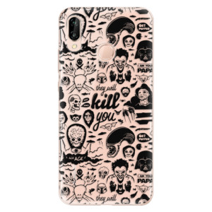 Silikonové odolné pouzdro iSaprio Comics 01 black na mobil Huawei P20 Lite