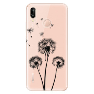 Silikonové odolné pouzdro iSaprio Three Dandelions black na mobil Huawei P20 Lite