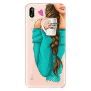 Silikonové odolné pouzdro iSaprio My Coffee and Brunette Girl na mobil Huawei P20 Lite