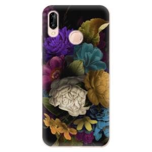 Silikonové odolné pouzdro iSaprio Dark Flowers na mobil Huawei P20 Lite