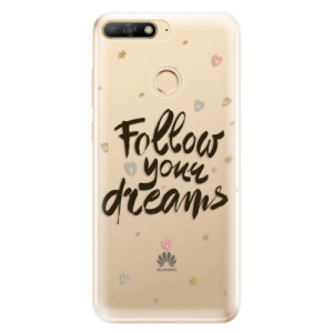 Silikonové odolné pouzdro iSaprio Follow Your Dreams black na mobil Huawei Y6 Prime 2018
