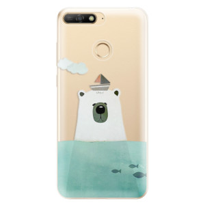 Silikonové odolné pouzdro iSaprio Bear With Boat na mobil Huawei Y6 Prime 2018