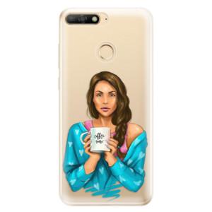 Silikonové odolné pouzdro iSaprio Coffee Now Brunette na mobil Huawei Y6 Prime 2018