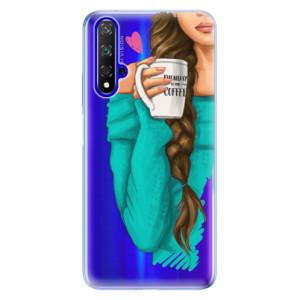 Silikonové odolné pouzdro iSaprio My Coffee and Brunette Girl na mobil Honor 20