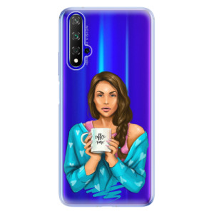 Silikonové odolné pouzdro iSaprio Coffee Now Brunette na mobil Honor 20