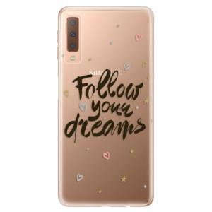 Silikonové odolné pouzdro iSaprio Follow Your Dreams black na mobil Samsung Galaxy A7 (2018)