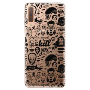 Silikonové odolné pouzdro iSaprio Comics 01 black na mobil Samsung Galaxy A7 (2018)