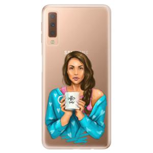 Silikonové odolné pouzdro iSaprio Coffee Now Brunette na mobil Samsung Galaxy A7 (2018)