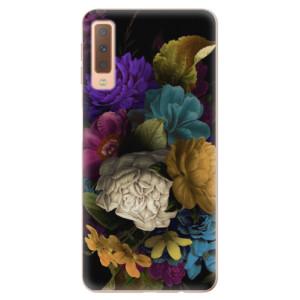 Silikonové odolné pouzdro iSaprio Dark Flowers na mobil Samsung Galaxy A7 (2018)
