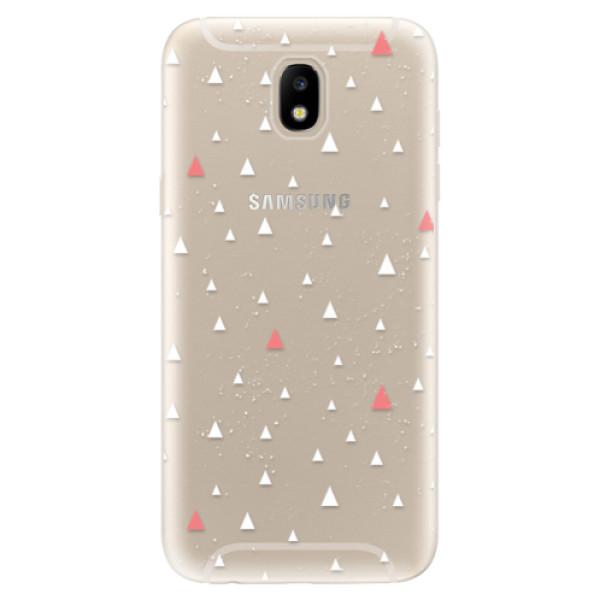 Silikonové odolné pouzdro iSaprio Abstract Triangles 02 white na mobil Samsung Galaxy J5 2017 (Silikonový odolný kryt, obal, pouzdro iSaprio Abstract Triangles 02 white na mobil Samsung Galaxy J5 (2017))